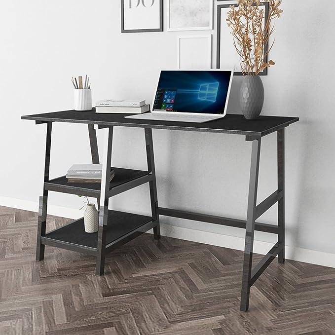 sogesfurniture Escritorio de Oficina 120 x 60cm Mesa de Ordenador Mesa de Trabajo Escritorio para Computadora con 2 estantes, de Madera y Acero, Negro ...