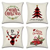 Set of 4 Christmas Pillow Covers 18 x 18 Inches - Auma Series Christmas Decoration Cushion Cover Case for Sofa Couch…