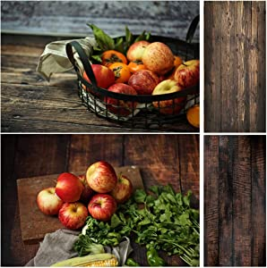 Allenjoy 34.4x15.7in Double Sided Wooden Photography Background 2 in 1 Texture Pattern Waterproof Paper Tabletop Backdrop Food Jewelry Cosmetics Makeup Small Product Props Professional Photo Shoot