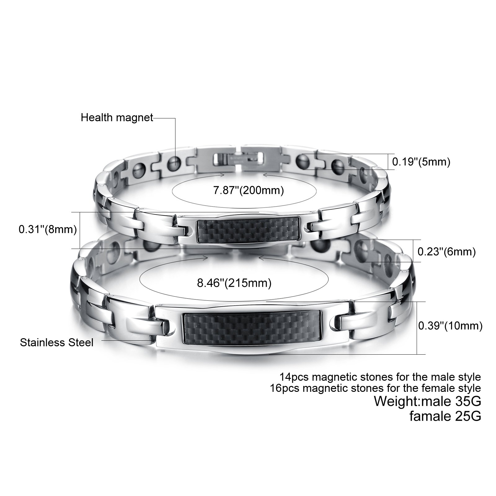 Fate Love His & Her Matching Set Carbon Fiber Magnetic Energy Bracelets,Health Care Link Chain for Couple by Fate Love (Image #2)