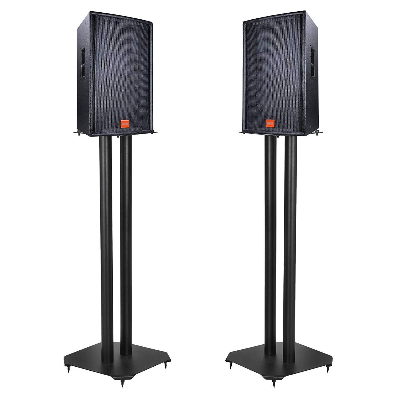 HomGarden Universal Speaker Stands Steel Floor Bookshelf Speaker Stands for Surround Sound & Book Shelf Speakers