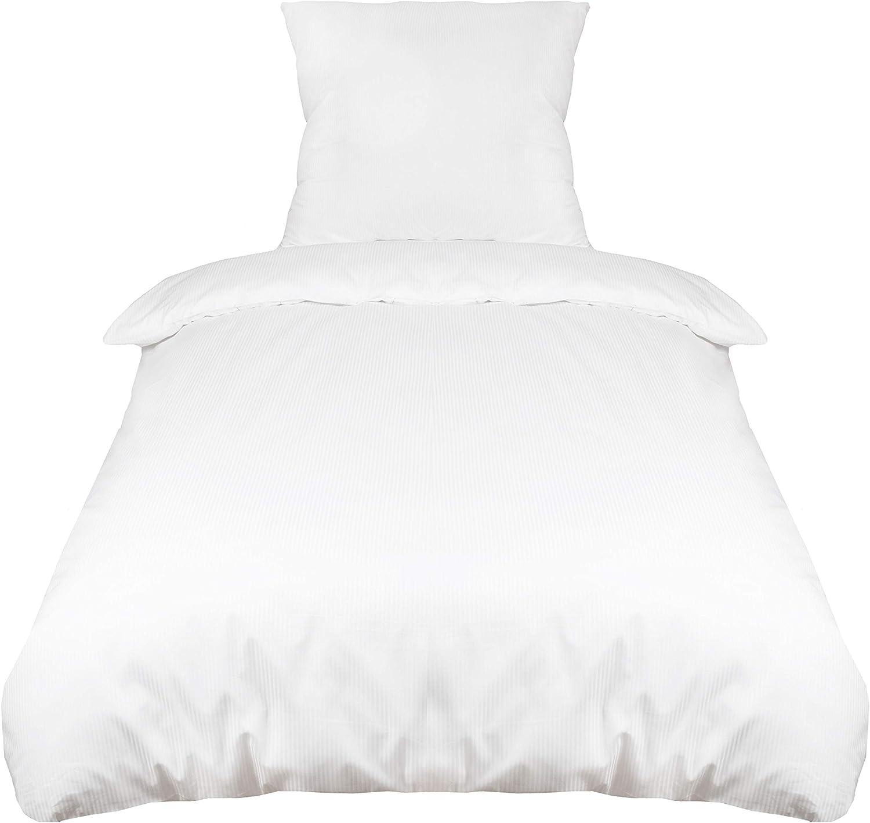 ZOLLNER Juego de Funda nórdica de algodón a Rayas 3 mm, Blanco, Cama 80-90 cm