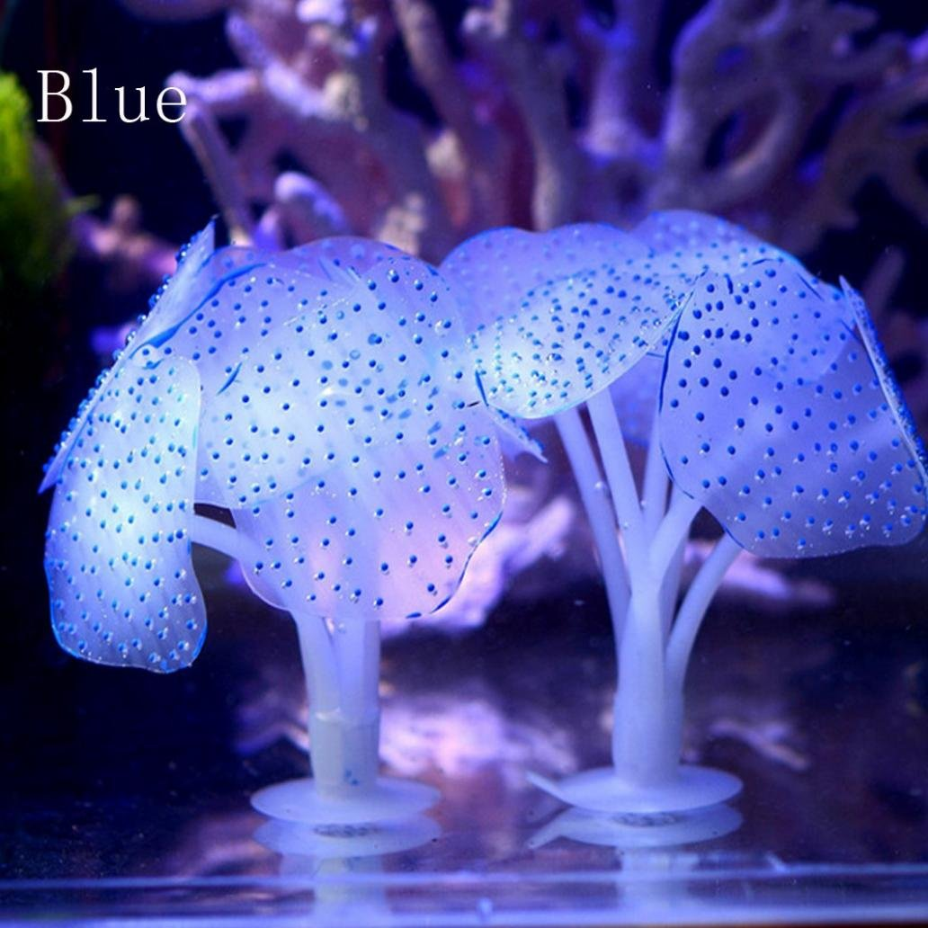 Falaiduo Lovely Aquarium Fish Tank Fluorescent Soft Silica Gel Coral Blue Gell Home Decoration