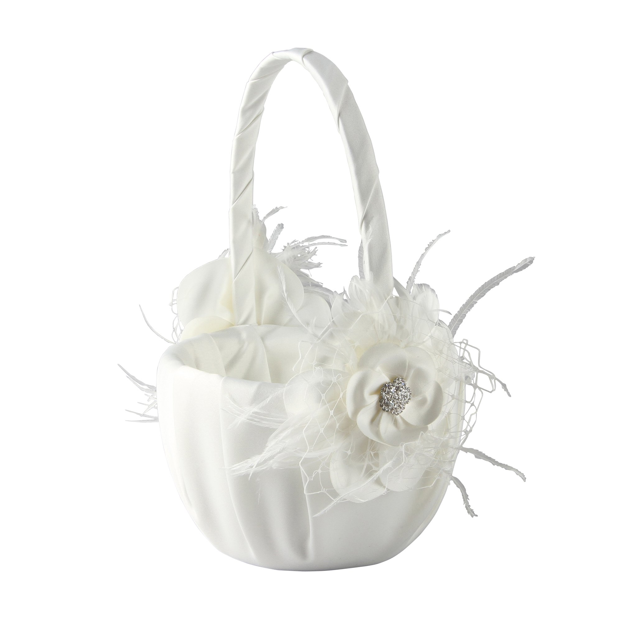 Ivy Lane Designs Somerset Collection Flower Girl Basket, Ivory