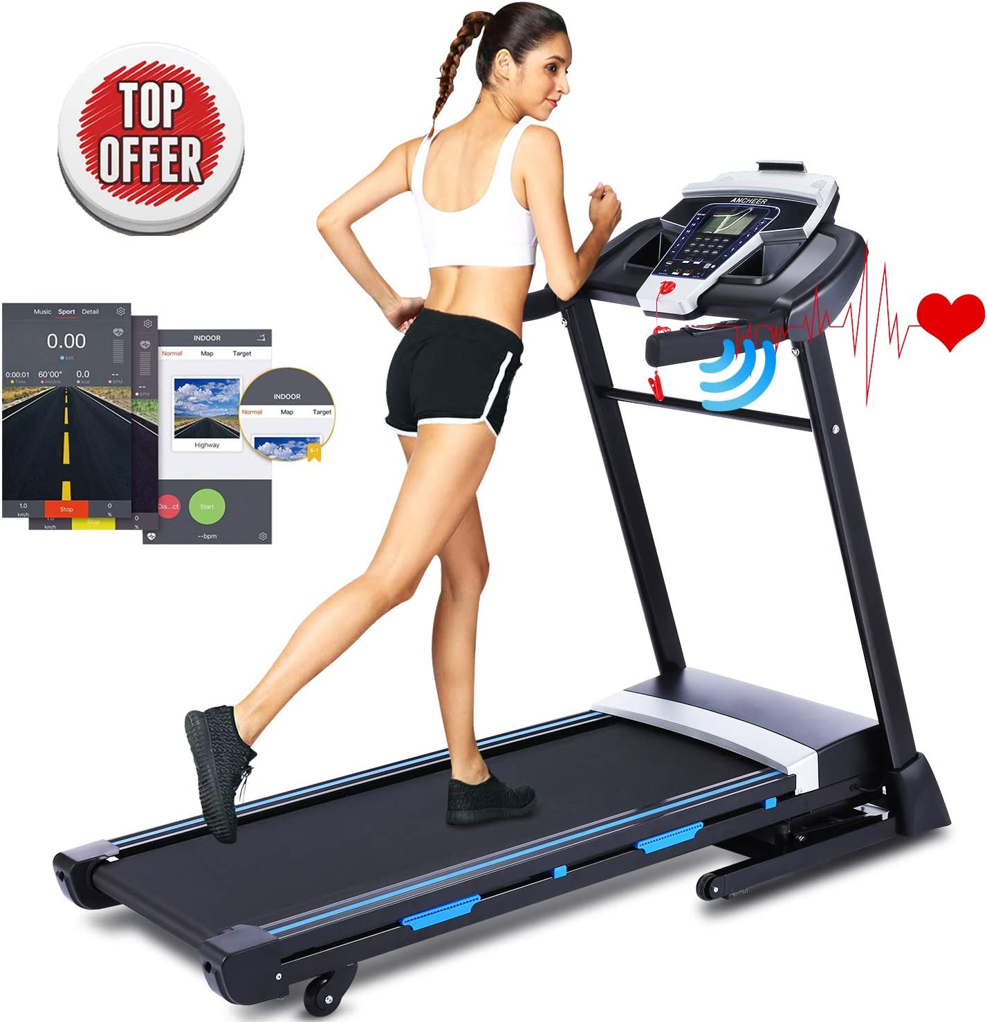 ANCHEER 3.25HP Folding Treadmill, Electric Automatic Incline Treadmill, Fitness Machine Trainer Equipment, Easy Assembly Fitness Motorized Running Jogging Machine with APP Control