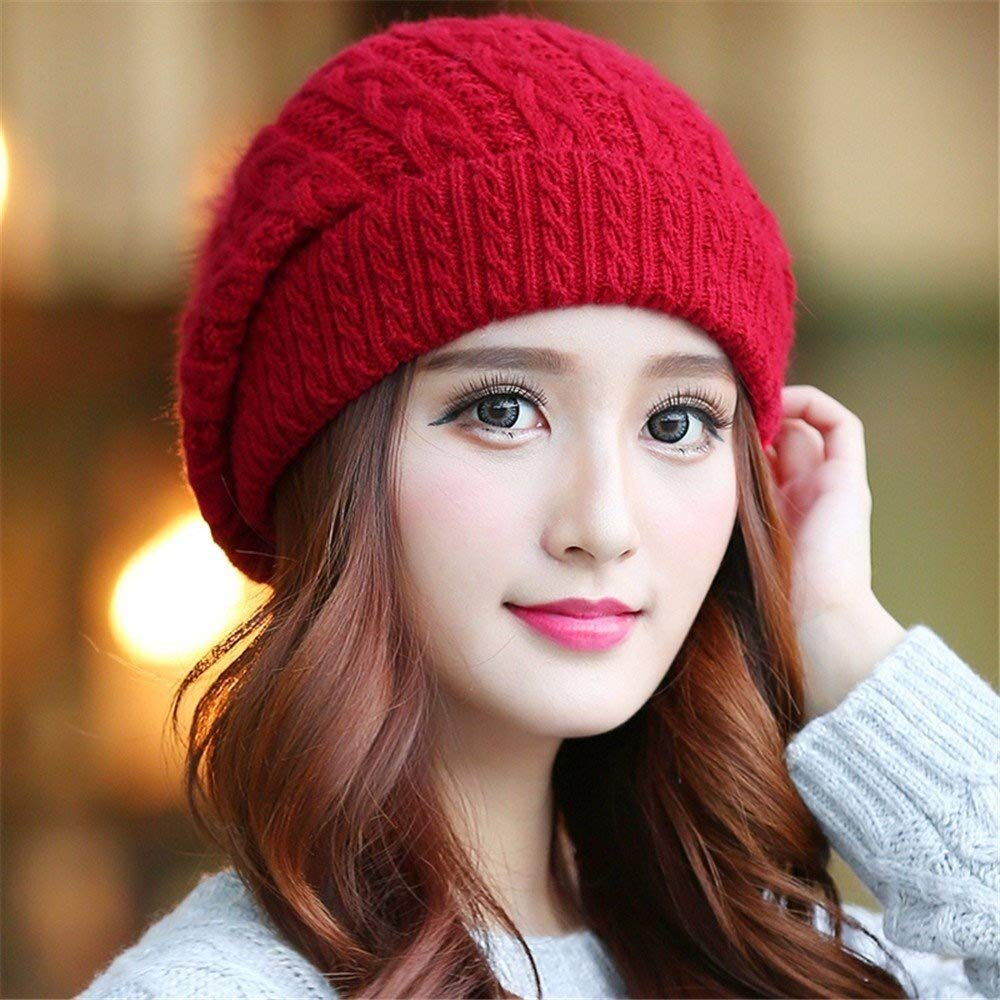 Tuyishangmao Knit Beanie Hat, Casual Solid Color Fur Pompoms Winter Beanie Hat (Color : Red, Size : M)