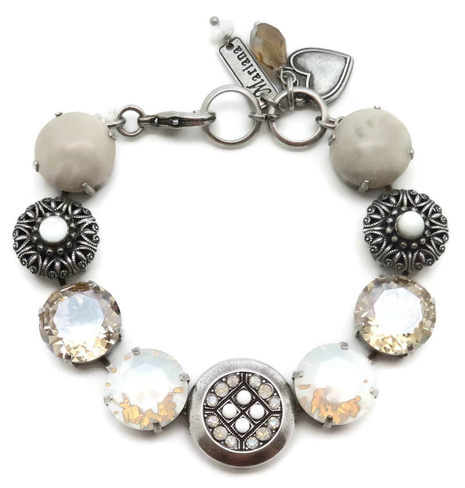 Mariana Swarovski Crystal Silver Plated Bracelet Silk White Circle Mosaic M1078 Kalahari
