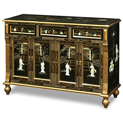 black laquer furniture. China Furniture Online Black Lacquer Sideboard, Mother Pearl Inlay Courtly Maiden Scenery Motif Cabinet Gold Laquer