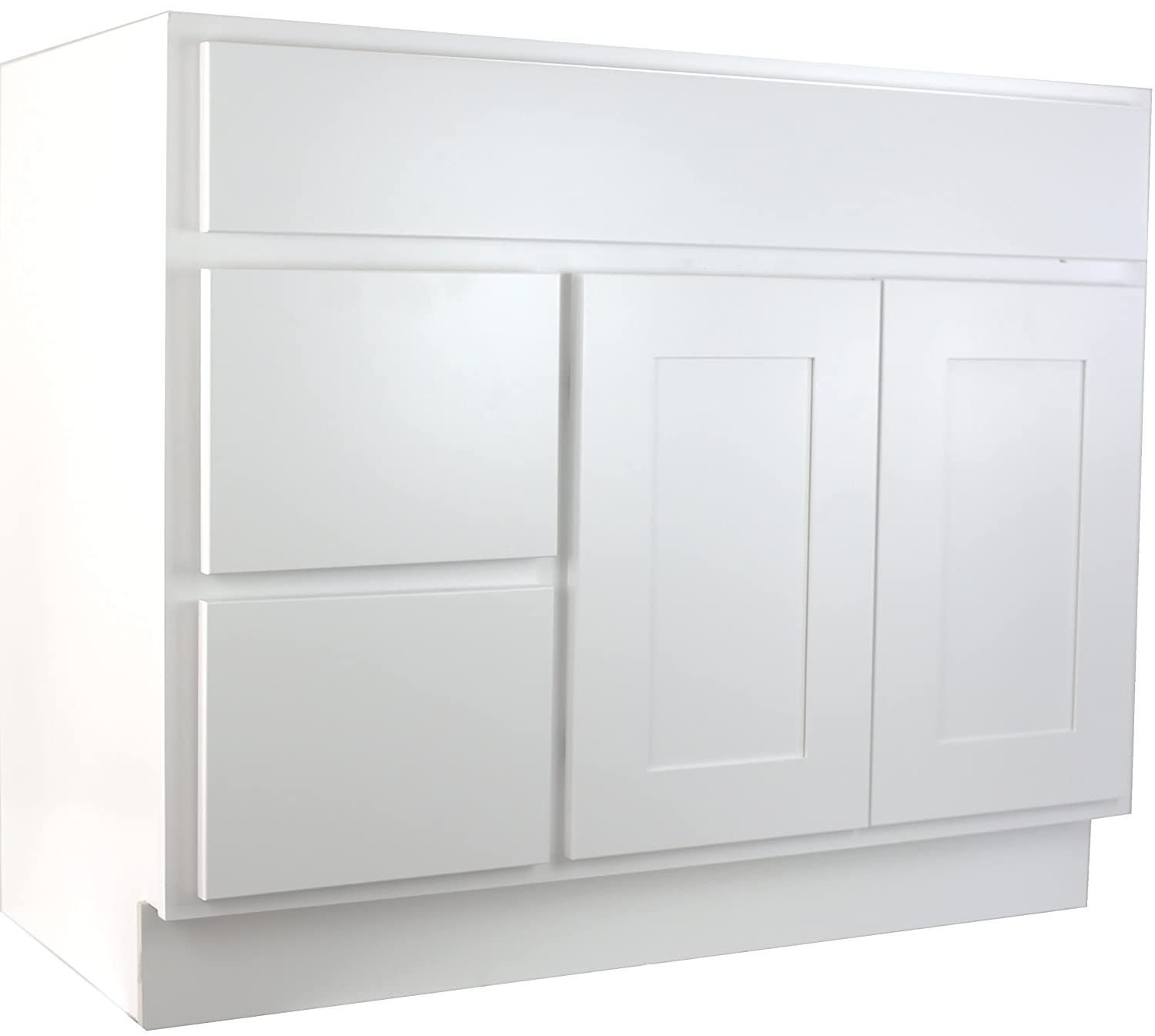 Cabinet Mania: White Shaker 36 Inch Bathroom Vanity With Left Drawers Sink  RTA Cabinet - Ready To Assemble - 100% All Wood Construction, Lowest Price  Online