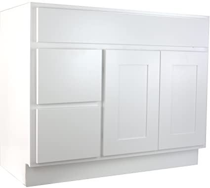 Cabinet Mania White Shaker 36 Inch Bathroom Vanity With Left Drawers Sink Rta Cabinet Ready To Assemble 100 All Wood Construction Lowest Price