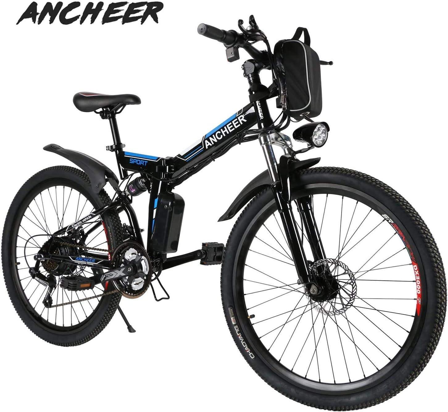 Ancheer Bicicleta Eléctrica de Montaña Bicicleta Eléctrica de 26 Pulgadas Plegable con Batería de Litio (36V 250W) 21 Velocidades de Suspensión Completa Premium y Equipo Shimano (Negro Plegable): Amazon.es: Deportes y aire