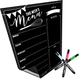Magnetic Dry Erase Menu Board for Fridge: with Bright Neon Chalk Markers - 16x12 - Weekly Meal Planner Blackboard and…