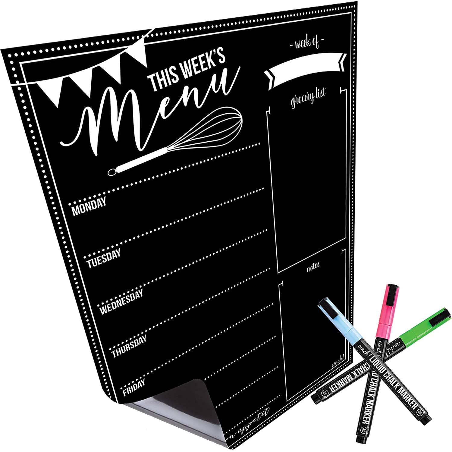 "Magnetic Dry Erase Menu Board for Fridge: with Bright Neon Chalk Markers - 16x12"" - Weekly Meal Planner Blackboard and Grocery List Notepad for Kitchen Refrigerator - Whiteboard Chalkboard Magnet"