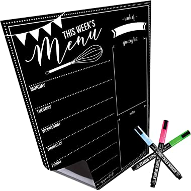 Magnetic Dry Erase Menu Board for Fridge: with Bright Neon Chalk Markers - 16x12  - Weekly Meal Planner Blackboard and Grocery List Notepad for Kitchen Refrigerator - Whiteboard Chalkboard Magnet