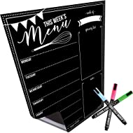 """Magnetic Dry Erase Menu Board for Fridge: with Bright Neon Chalk Markers - 16x12"""" - Weekly Meal Planner Blackboard and Grocery List Notepad for Kitchen Refrigerator - Whiteboard Chalkboard Magnet"""