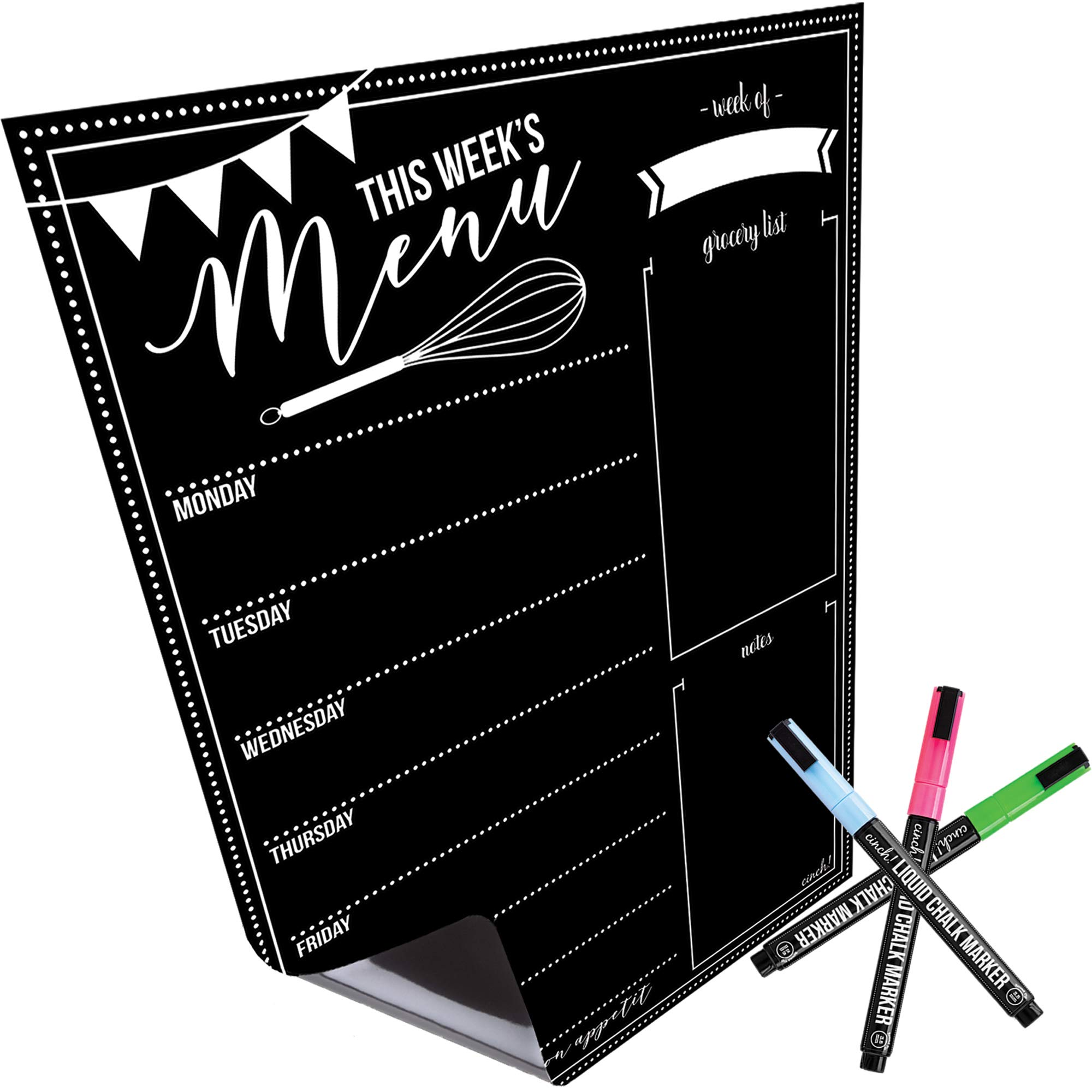 Magnetic Dry Erase Menu Board for Fridge: with Bright Neon Chalk Markers - 16x12'' - Weekly Meal Planner Blackboard and Grocery List Notepad for Kitchen Refrigerator - Whiteboard Chalkboard Magnet