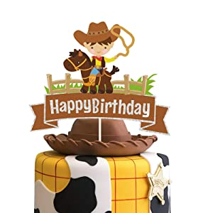 Glitter Cowboy Happy Birthday Cake Topper ,Wild West Cowboy Cake Decor, Western Themed Party Decorations for Boys Girls and Kids Birthday or Baby Shower