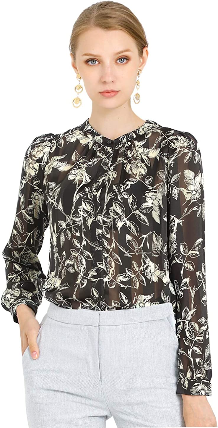 Allegra K Women's Semi-Sheer Puff Sleeve Shirt Leaves Floral Work Office Blouse