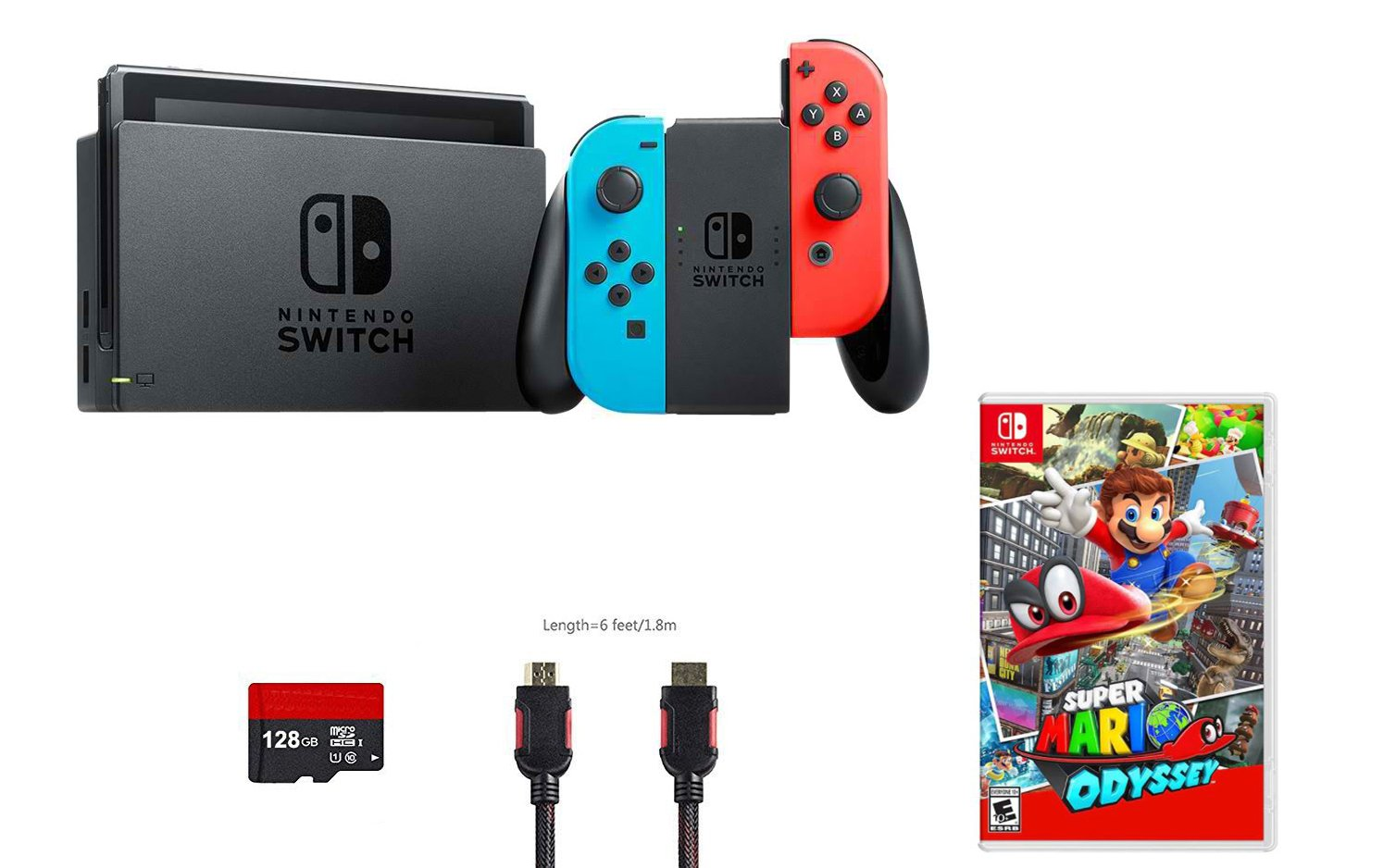 Nintendo Switch 4 items Bundle:Nintendo Switch 32GB Console Neon Red and Blue Joy-con,128 GB Micro SD Card,Super Mario Odyssey, and HDMI Cable