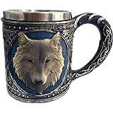niceEshop(TM) Wolf Drinking Mug Resin Stainless Steel Lining Retro 3D Wolf Pattern Wine Cup,450ML
