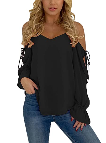 b0ca69960d52c Sidefeel Women Casual Chiffon Long Sleeve Cold Shoulder Blouse Small Black