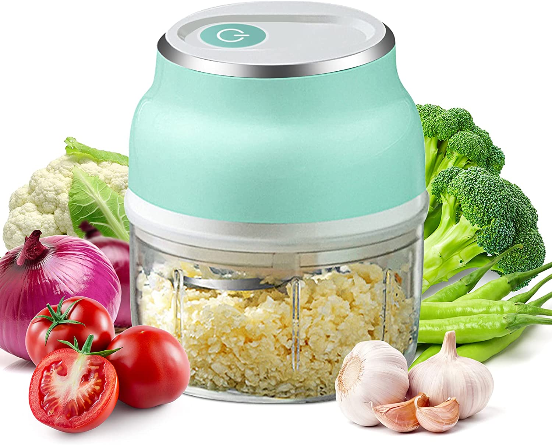 Mini Food Processor Electric Garlic Chopper - Handheld Grinder Small Wireless Garlic Mincer 250ML Multifunctional Mincer Blender, Onion Chili Avocado Fruit Vegetable Chopper for Veggie Dicing Mincing