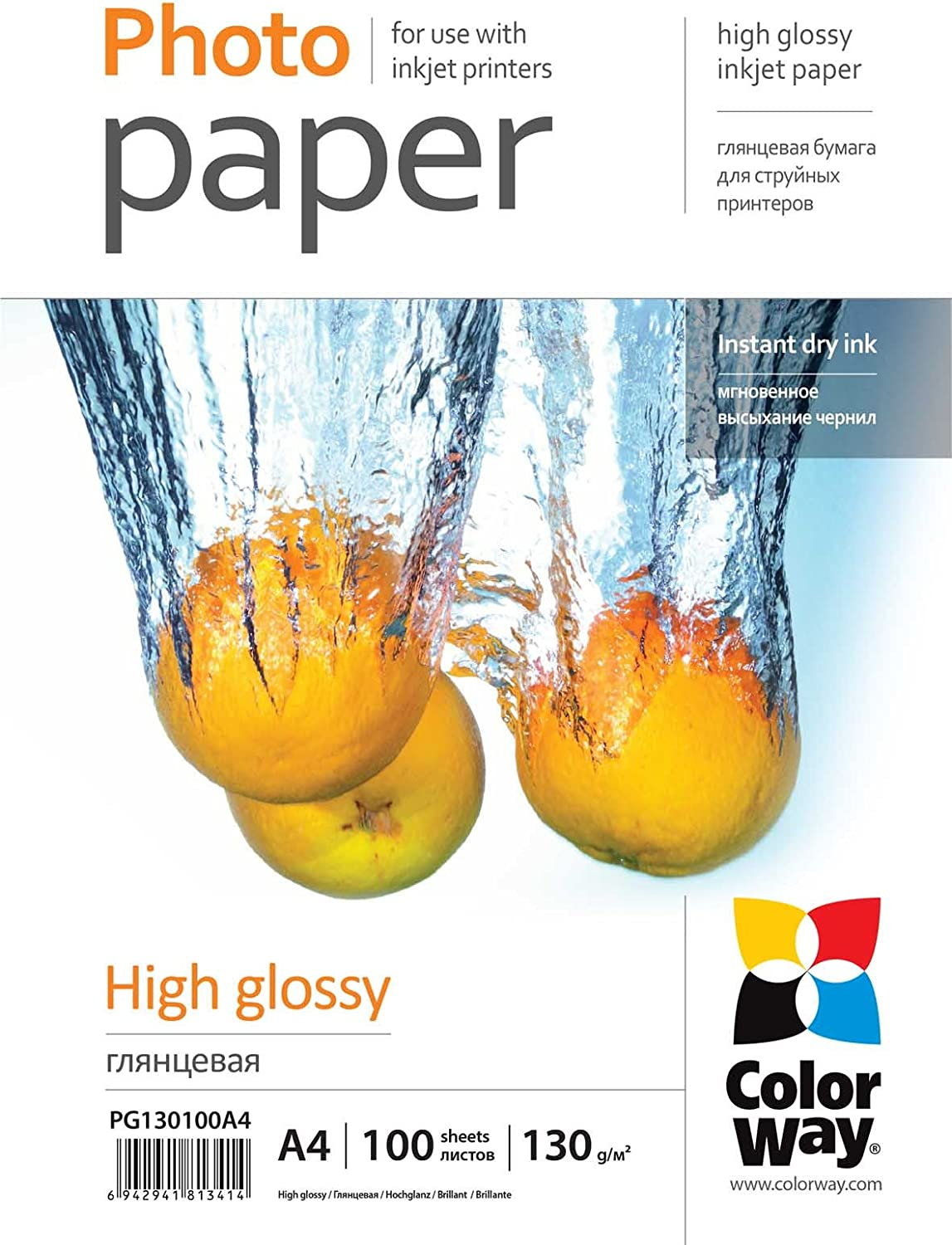 PG1800204R 10 cm x 15 cm 20 Sheets Photo Paper ColorWay High Glossy 180 g//m/² 4 in х 6 in