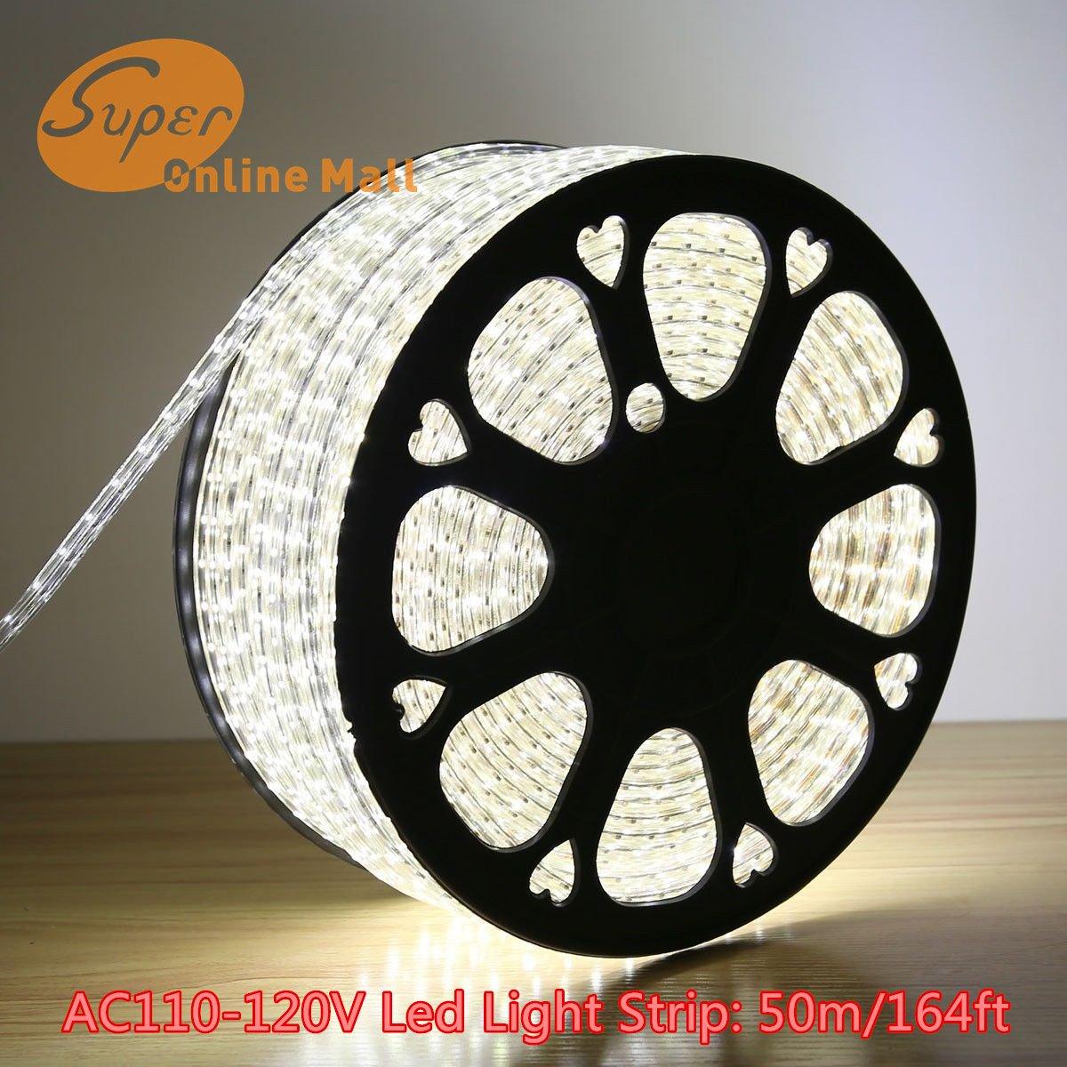 SuperonlineMall AC 110-120V Flexible Waterproof LED Strip Lights, 50m/164ft - White