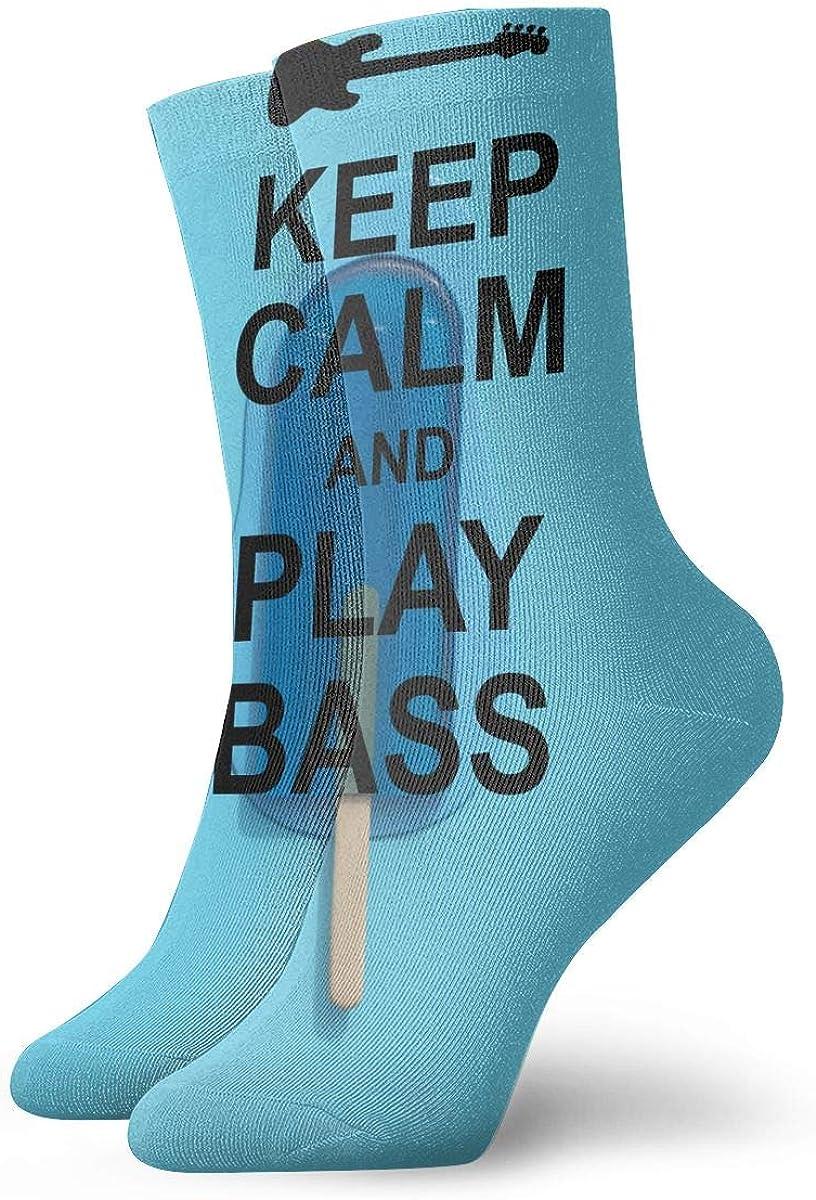 Keep Calm And Play Bass Fashion Dress Socks Short Socks Leisure Travel 11.8 Inch