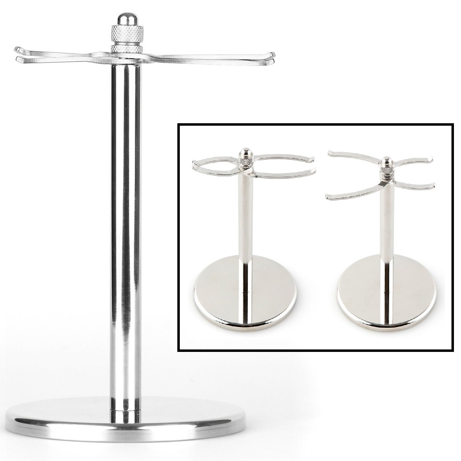 Fendrihan Universal Adjustable Shaving Brush and Safety Razor Stand (Fits Brushes from 22 mm to 43 mm) Stainless Steel