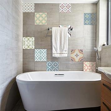 VanBest Mediterranean Continental Retro Tile Stickers Kitchen Bathroom Bathtub Waterproof Wall Stickers Home Creative Decoration