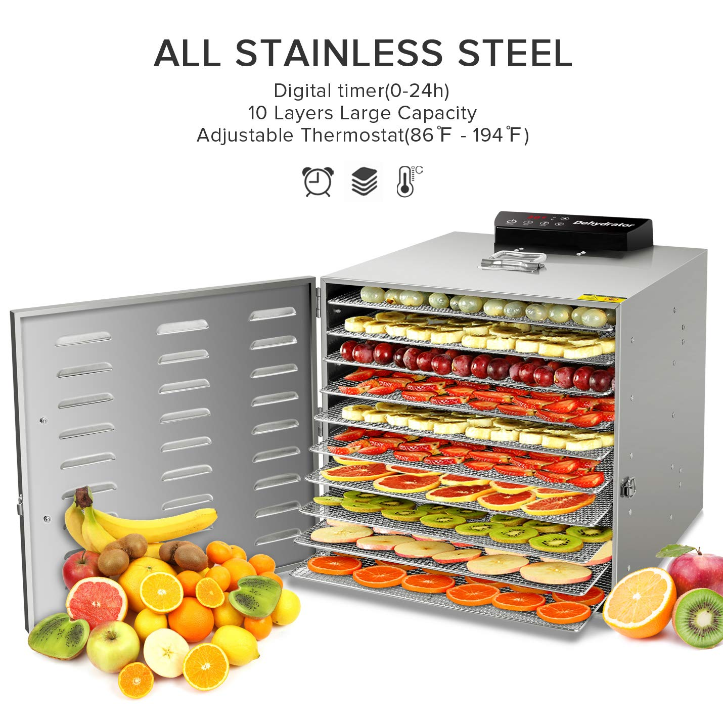Commercial Stainless Steel Food Dehydrator -Raw Food & Jerky Fruit Dehydrator -10 Trays 1000W Preserve Food Nutrition Professional Household Vegetable Dryer, with 0~24 Hours Digital Timer by SHUOGOU (Image #1)