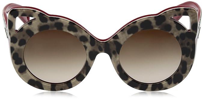 Dolce & Gabbana 0DG4289, Montures de Lunettes Femme, (Top Leo On Bordeaux), 43