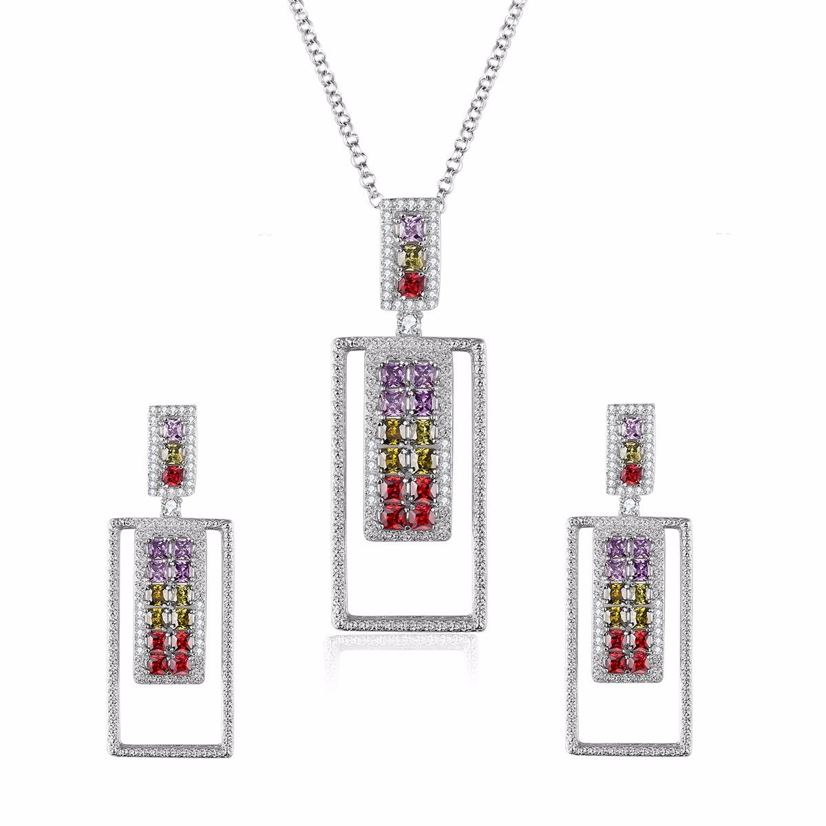 Caperci Sterling Silver Multi-Gemstone Pendant Necklace and Earrings Fine Jewelry Sets for Women