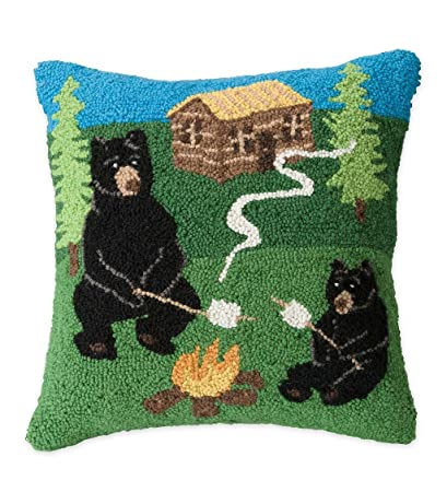 Plow & Hearth Hand-Hooked Wool Camping Bears Throw Pillow - 15 5 L x 15 5 W  x 6 H