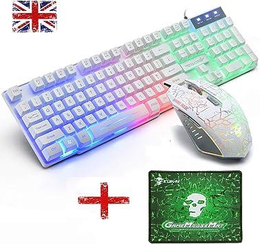 Hoopond UK Layout T6 Juego de Teclado y ratón con retroiluminación LED arcoíris USB Gaming Keyboard con Cable óptico 2400 dpi 6 Botones ...