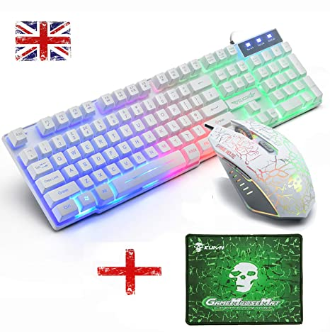 Wired T6 LED Backlit Usb Gaming Keyboard Mouse Pad 2400DPI Gamer Mouse Sets