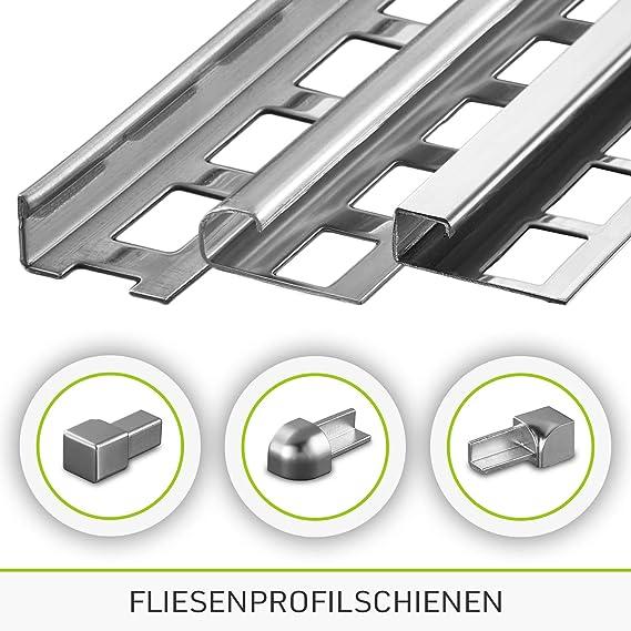 10 mm I gl/änzend HORI/® Fliesenprofil I Quadroprofil aus Edelstahl St/ück L/änge /á 2,50 m I H/öhe