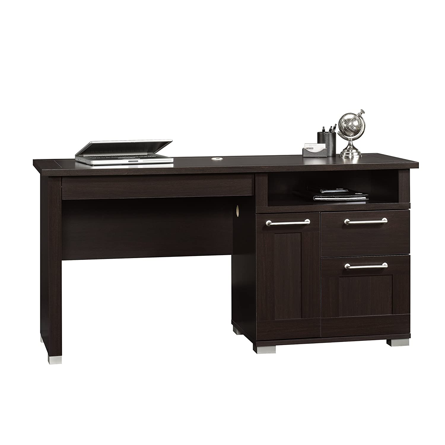 corner desk wood shaped arch computer line sauder desks drawers hutch glass tower with