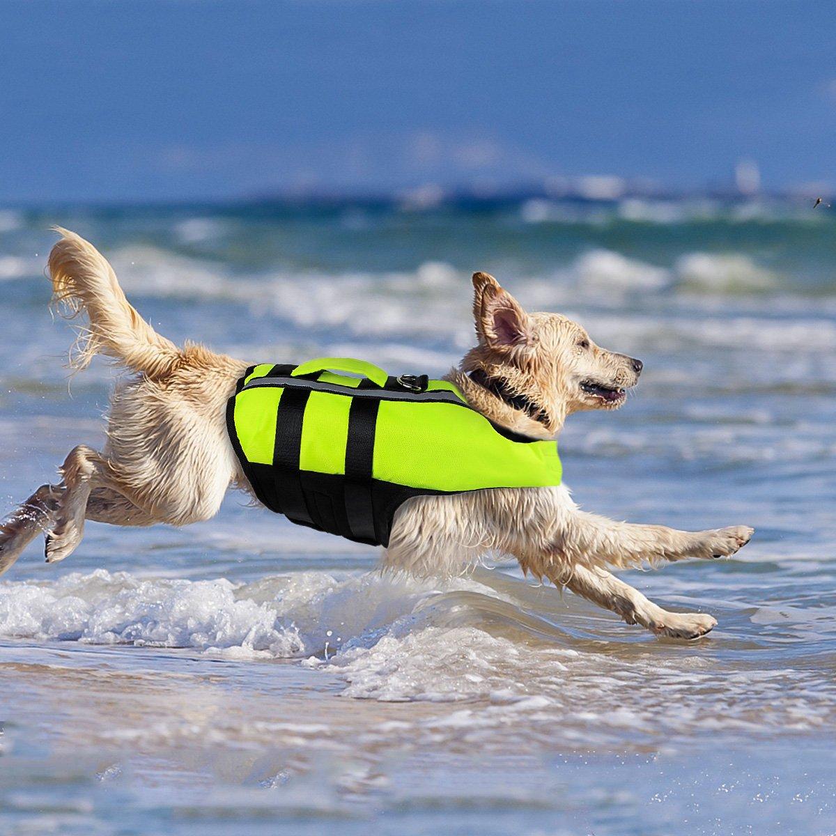 Medium Petleso Dog Saver Life Jacket, Inflatable Adjustable Medium Dog Life Jacket for Swimming Surfing Boating Dog Jacket, Green