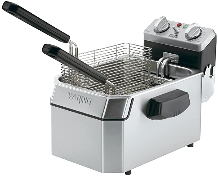 Waring Commercial WDF1000 120-volt Heavy Duty Single Electric Deep Fryer, 10-Pound