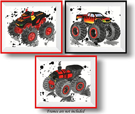 Amazon Com 7dots Art Set Of 3 Monster Trucks Watercolor Art Print Dual Size A4 Adjustable To 8 X10 On Fine Art Thick Watercolor Paper For Kids Boy S Room Bedroom Wall Art Decor Poster