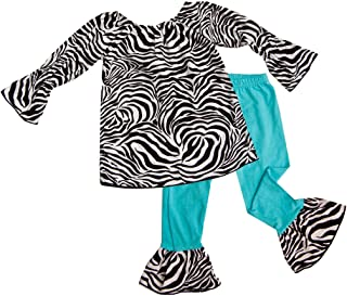 product image for Cheeky Banana Little Girls Zebra Tunic Top & Ruffle Leggings Turquoise Black/Wh