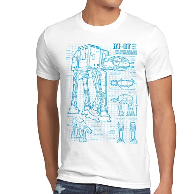 style3 AT-AT Cianotipo Camiseta para Hombre T-Shirt Fotocalco Azul Andador