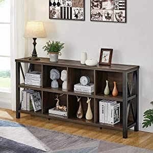 FATORRI 8 Cube Storage Organizer Bookshelf, Rustic Wood Cubby Bookcase, Industrial Horizontal Long Shelf for Living Room (Walnut Brown, 62 Inch)