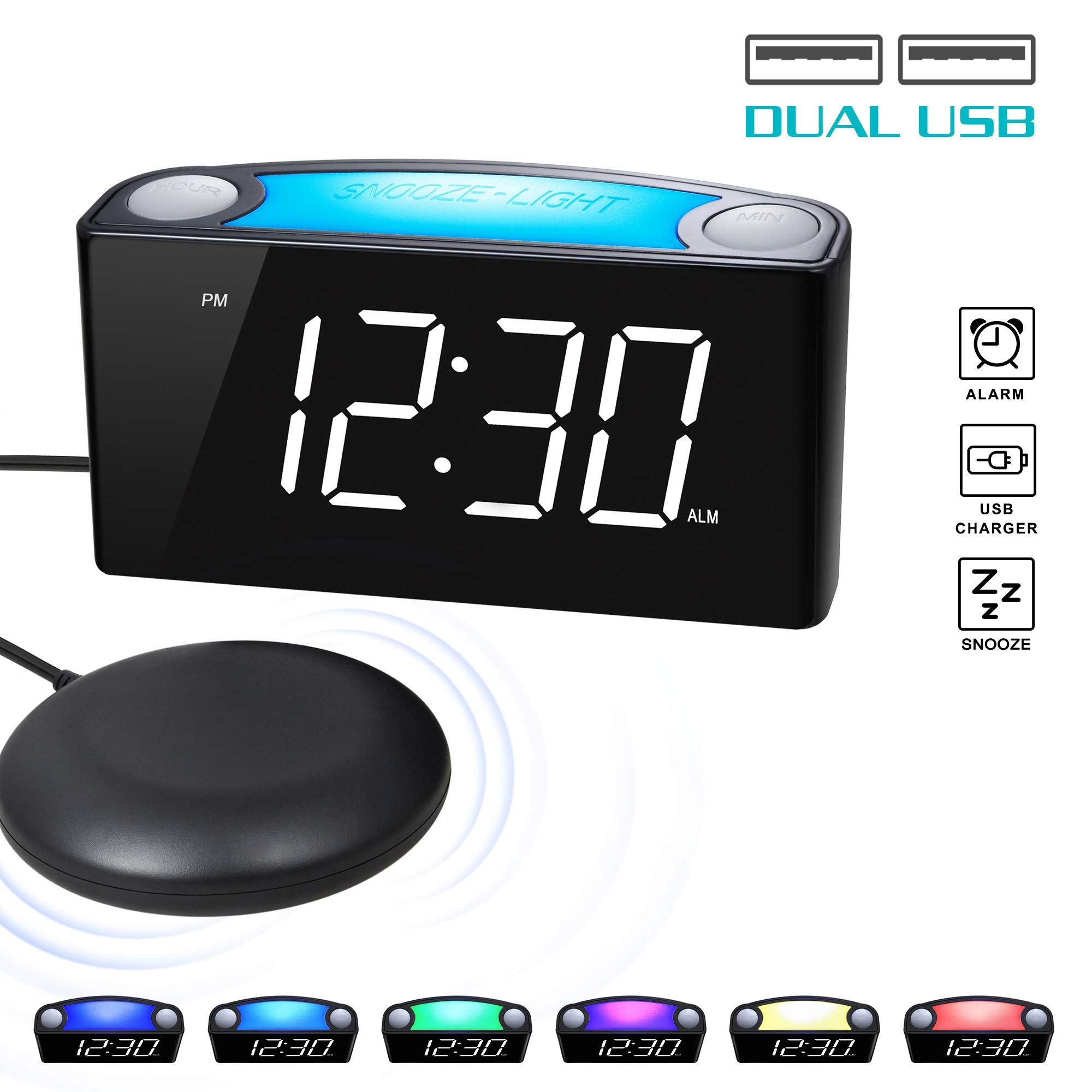 ROCAM Vibrating Loud Alarm Clock with Bed Shaker, Best Sounds, Large LED Display with Dimmer, 7 Colored Night Light, Dual USB Charging Ports for Heavy Sleepers, Hearing Impaired, Deaf People, Seniors by ROCAM