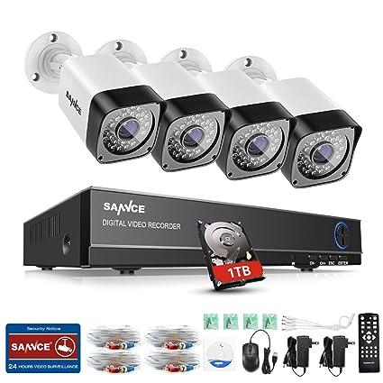 SANNCE Kits de seguridad sistema de 4 cámaras de vigilancia(Onvif H.264 4CH