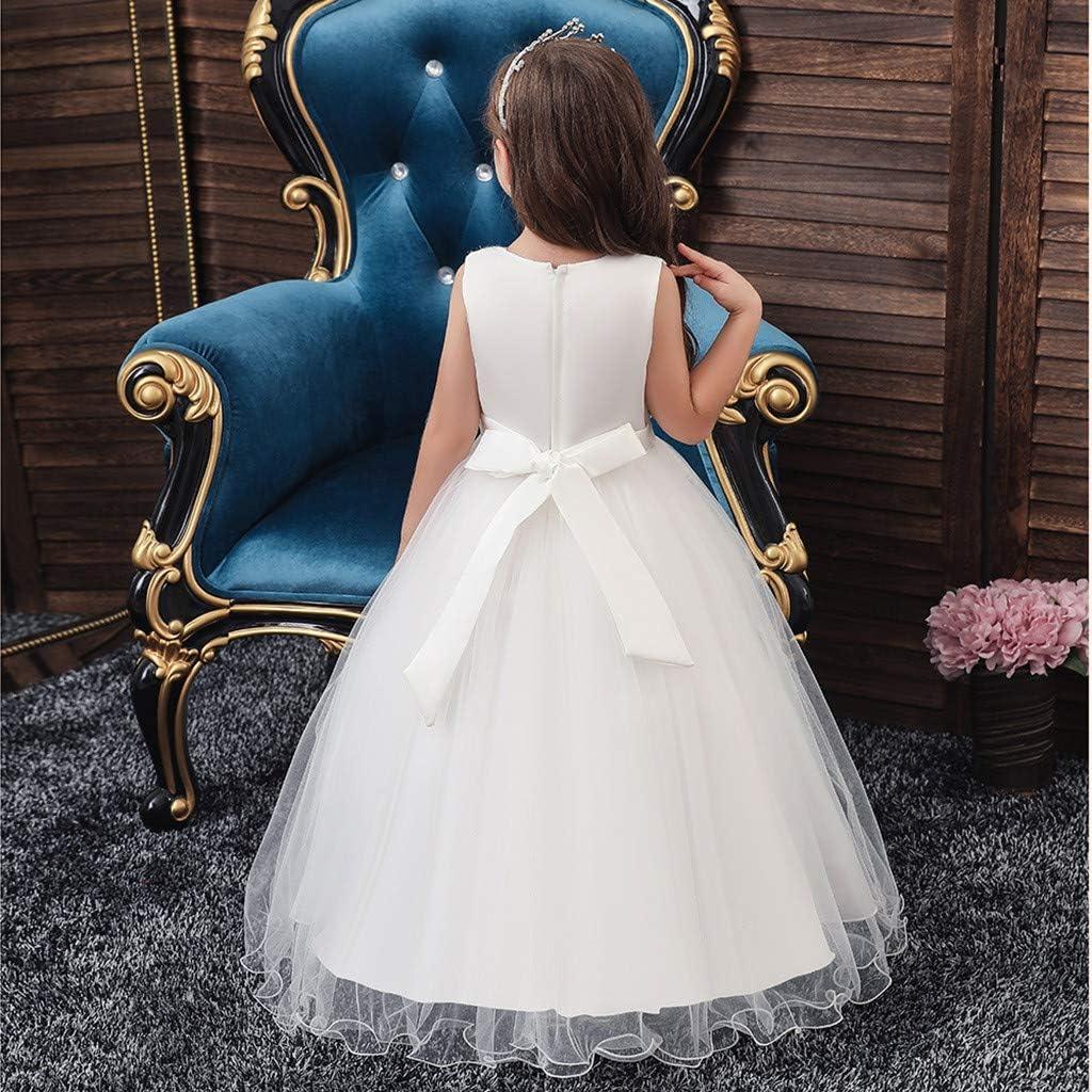 Robe Enfant Fille Mariage Ceremonie De Princesse D Honneur Mignons A La Mode Chic Perle Broderie Dentelle Tulle sans Manche Longue Robes avec Traine 3-12 Ans