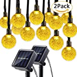 Lumitify 2 Pack Globe Solar String Lights, 19.7ft 30 LED Fairy Crystal Ball Christmas Lights, Outdoor Decorative Solar Lights for Home, Garden, Patio, Lawn, Party and Holiday(Warm White)