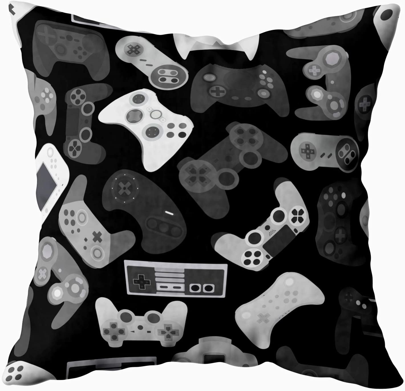TOMWISH Cusion Pillow Cover,TOMKEY Hidden Zippered 20X20Inch Video Game Controller Background Gadgets Pattern Black White Decor Throw Cotton Pillow Case Cushion Cover for Home Decor